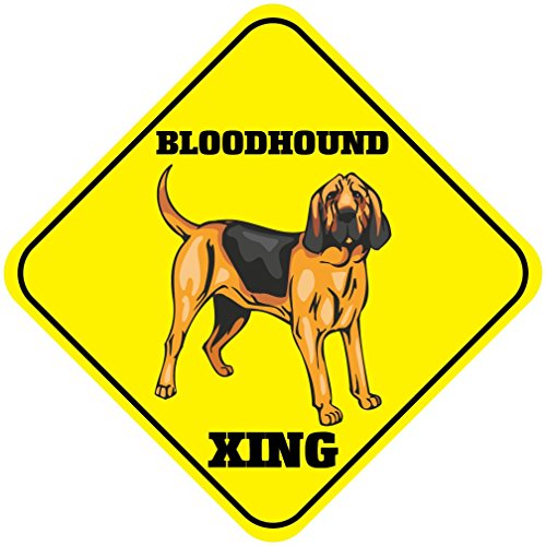 Aluminum Cross Sign Bloodhound Xing Crossing Metal Wall Decor - 12
