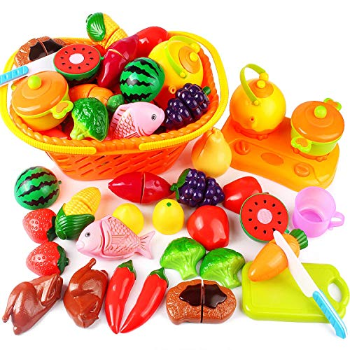 Tomons Kids Pretend Food Kitchen Toys Play Food for Kids, Plastic Food Fruit Cutting Set for Children Girls Boys Educational Early Age Basic Skills Development 20pcs Set with Basket