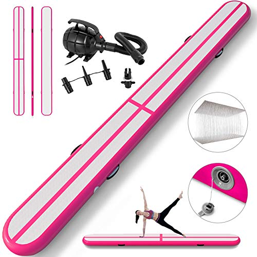 Happybuy Inflatable Gymnastics Tumbling Mat Air Tumbling Track Air Floor Mat for Home Use/Cheerleading/Beach/Park (Pink, 5X0.4X0.1M)