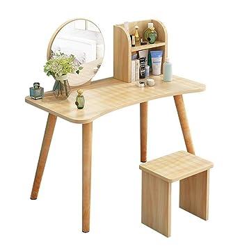 Amazon.com: Muebles de salón tocador con espejo 2 cajones ...