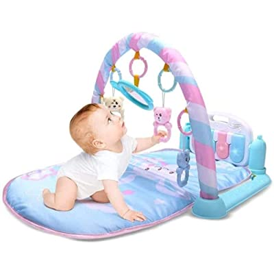 Mmsh Baby Play Gym, Piano Mirror Fitness Frame Play Mat, Activity Gym Kick Play Lay Sit Toy: Toys & Games