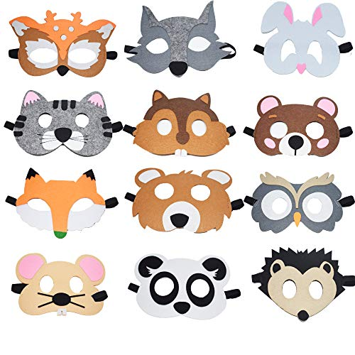 Fineder 12 Pieces Farm Animal Masks for Kids, Barnyard Animal Felt Masks for Birthday Party Favors, Dress-Up Costume Petting Zoo Farmhouse Theme -