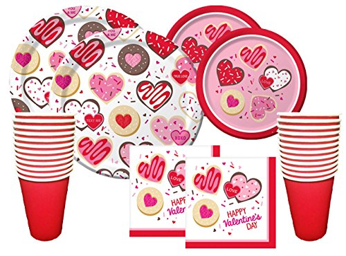 Valentines Day Party Premium Bundle for 16 Guests - Frosted Fun - Disposable Paper Plates, Napkins and Cups