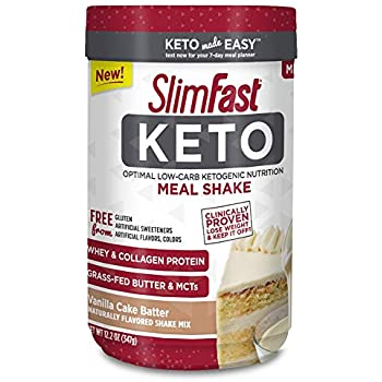 SlimFast Keto Meal Replacement Shake Powder Vanilla Cake Batter 122 Ounce Pack Of