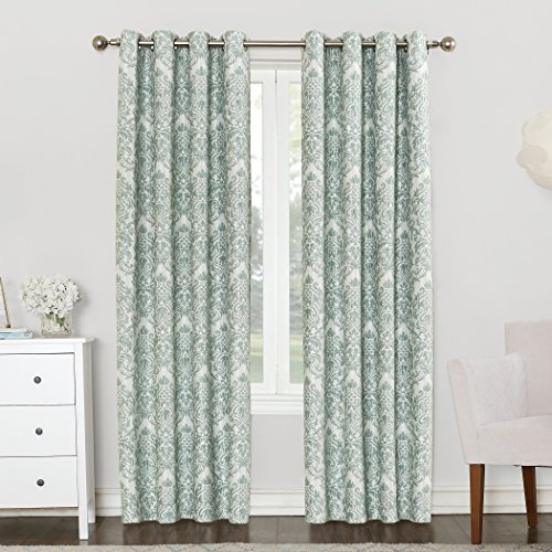 Sun Zero Caroline Woven Damask Blackout Lined Grommet Curtain Panel, 52