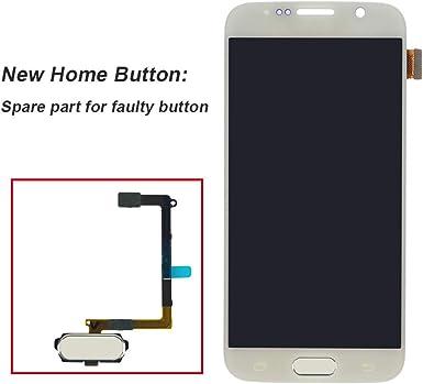 Amazon Com Pantalla Táctil Amoled Digitalizador De Montaje Con Botón De Inicio Para Samsung Galaxy S6 5 1 Pulgadas G9200 G920a G920p G920t G920v G920r4 G920f G920i G9208 G920k G920l G920s Blanco