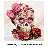 Skull 5D Diamond Painting Kit, Full Drill DIY 5D Paintings Crystal Rhinestone Embroidery Arts Craft for Children Cross Stitch Kits (A, 30x30cm)