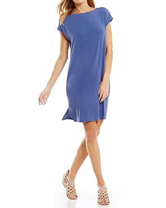 ca2badf3ca8b3 Image Unavailable. Image not available for. Color: Eileen Fisher Plus Blue  Angel Viscose Jersey Bateau Neck ...