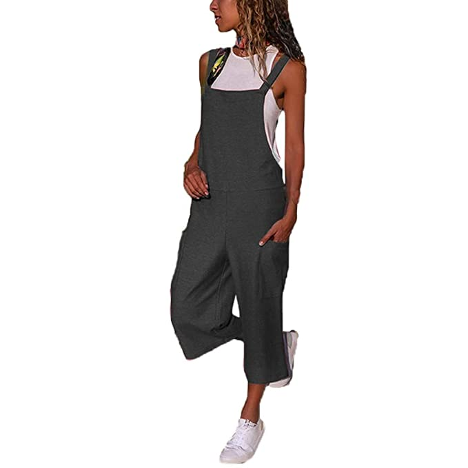 e4ffa4c127a461 VICGREY Jumpsuit Donna Elegante, Donna Sciolto Tuta Cinghia Pantaloni con  Pettorina Pantaloni da Allenamento Casual
