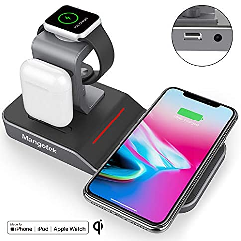 - 51GhAXZlvwL - Mangotek Apple Watch Stand Wireless Charger for iPhone and iWatch, 4 in 1 Phone Charging Station with Lightning Connector and USB Port for iPhone 8/X/XR/7/6 and iWatch Series 4/3/2/1 MFi Certified