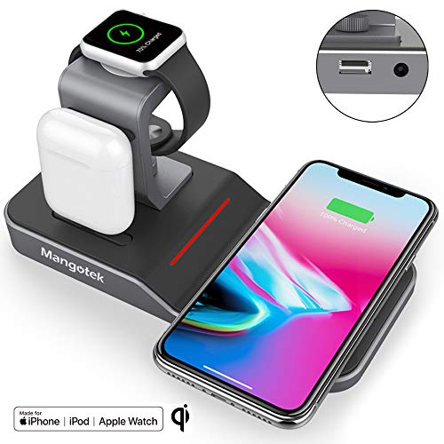 Mangotek Apple Watch Stand Wireless Charger for iPhone and iWatch, 4 in 1 Phone Charging Station with Lightning Connector and USB Port for iPhone 8/X/XR/7/6 and iWatch Series 4/3/2/1 MFi Certified (Iphone 4 Charging Doc)