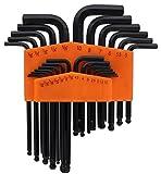 Drixet Orange SAE-Inch/Metric/mm Ball Point Hex Socket Driver Allen Key Combo Set. (25-Piece)