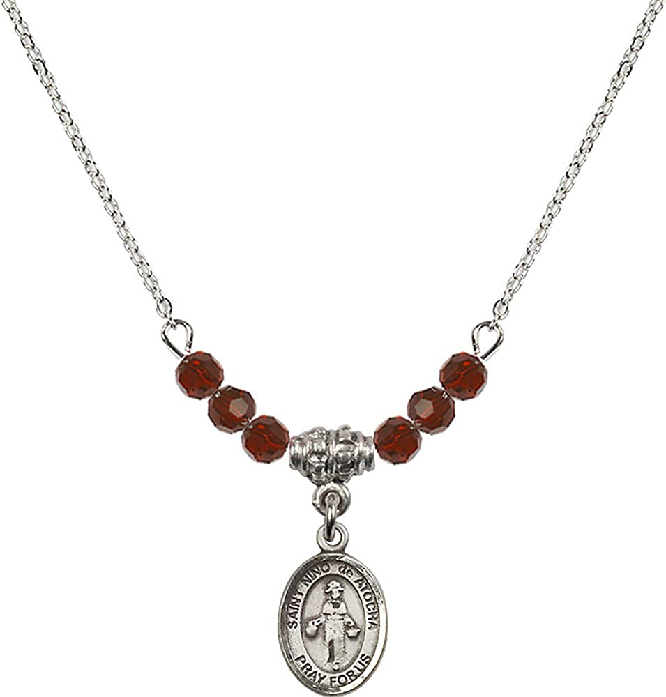 18-Inch Rhodium Plated Necklace with 4mm Garnet Birthstone Beads and Sterling Silver Saint Nino de Atocha Charm.