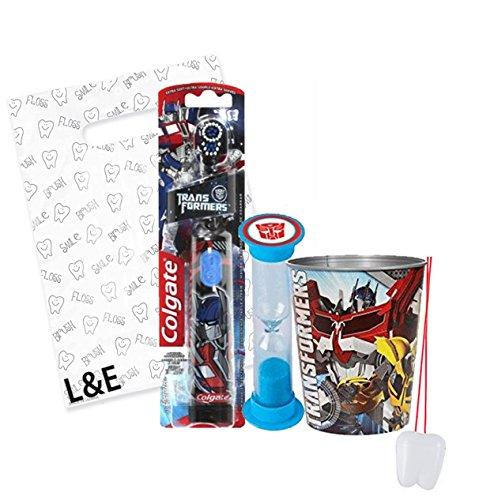 "Transformers 3pc Bright Smile Oral Hygiene Set! Turbo Powered Toothbrush, Brushing Timer & Mouthwash Rinse Cup! Plus Bonus ""Remember To Brush"" Visual Aid & Gift Bag!!"