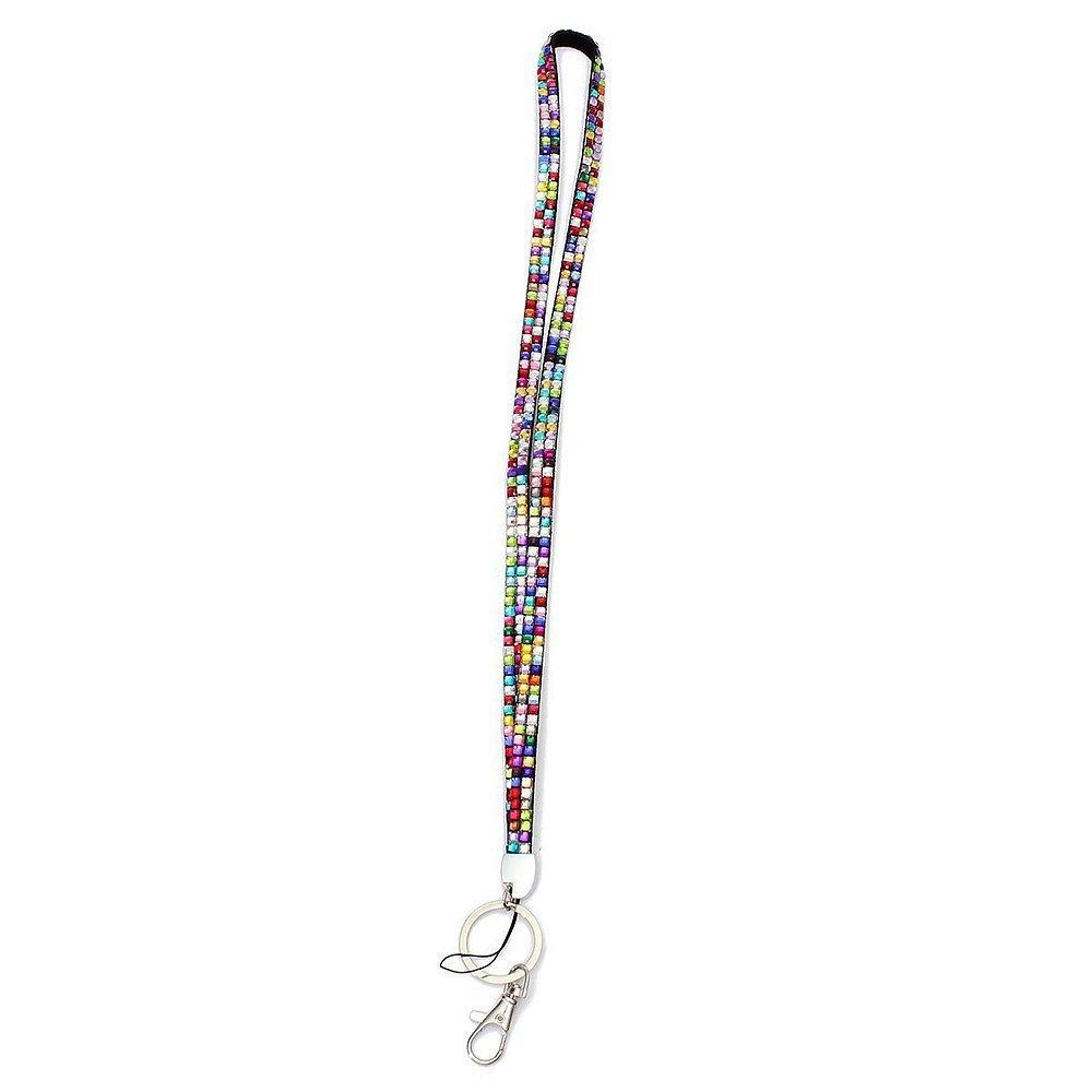jooks Colorful Bling correa de mosquetón con correa para seguridad Llavero Holder Diamonte cristal cuello tarjeta de identificación soporte para ...