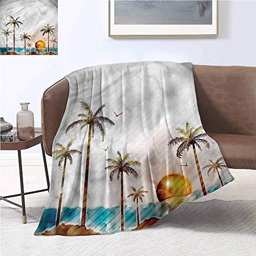 DILITECK Reversible Blanket Hawaiian Watercolor Style Island Elegant and Comfortable W70 xL84 Traveling,Hiking,Camping,Full Queen,TV,Cabin