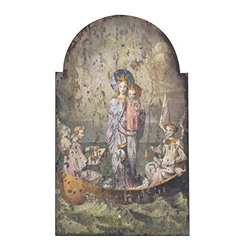 Wood Wall Decor with Vintage Mary and Angels Images