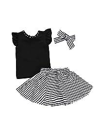 Jugendhj Babysuit ��������Toddler Kids Baby Girl Outfits Clothes T-Shirt+Stripe Bowknot Skirt+Headband Set