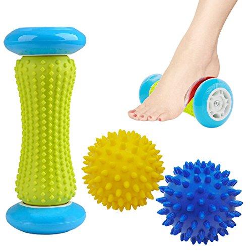 Foot Massage Roller Spiky Massager Ball Relieve Plantar Treatment of Fasciitis, Deep Body Massage to Relieve Stress, Included 1 Roller & 2 Spiky Balls 2.95inch (Blue Yellow)