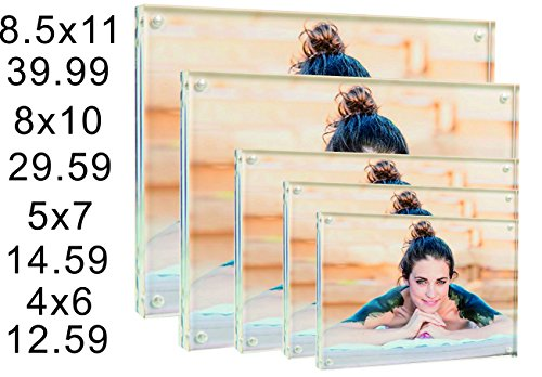 CYacrylic 8x10 Acrylic Frame, Magnetic Picture Frame, Clear, 10 + 10MM Thickness Stand In Desk / Table,Pack of 1