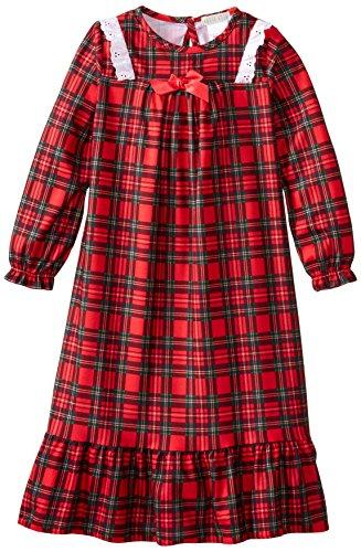 Komar Kids Big Girls'  Traditional Holiday Plaid Gown, Red, (Girls Christmas Nightgown)