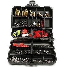 ... Box Full Storage Case Tool Set BML Brand // 128pcs pesca señuelos anzuelos cebos tackle negro caja completo herramienta case sistema de almacenaje en