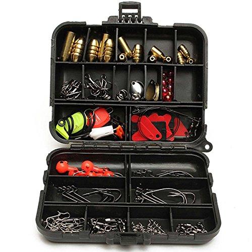 128pcs Fishing Lures Hooks Baits Black Tackle Box Full Storage Case Tool Set New Brand Name