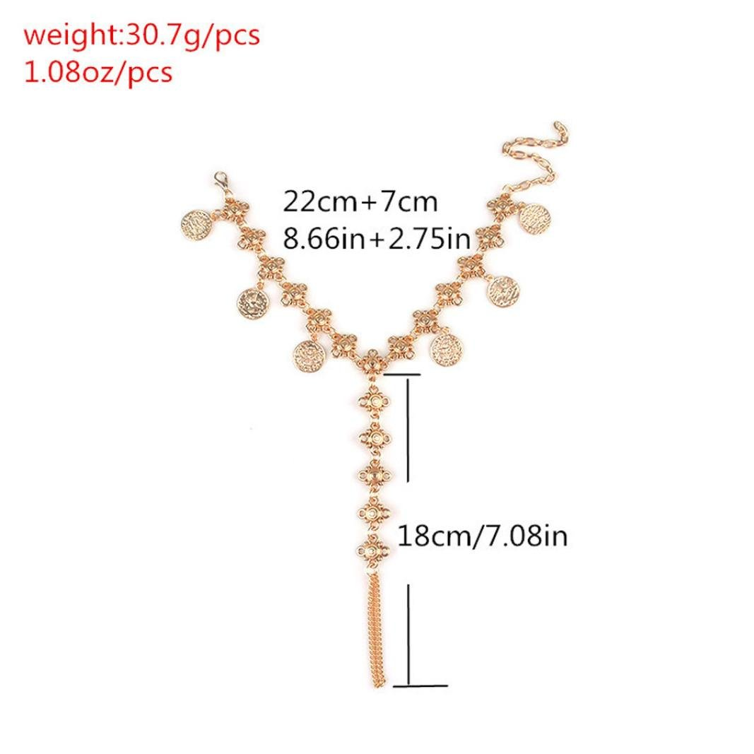 TOPUNDER 1PC Female Simple Fashion Family Name Wind Anklet Coin Fringed Anklets by