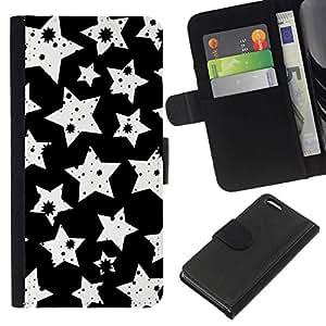 // PHONE CASE GIFT // Moda Estuche Funda de Cuero Billetera Tarjeta de crédito dinero bolsa Cubierta de proteccion Caso Apple Iphone 5C / White Stars Pattern /