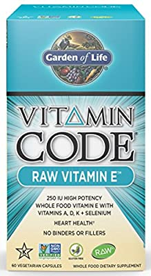 Garden of Life Vitamin Code Raw Vitamin E 250 IU - Vegetarian Whole Food Supplement with A, D, K and Selenium, 60 Capsules