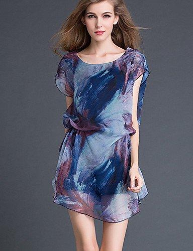 PU&PU Robe Aux femmes Trapèze Street Chic,Imprimé Col Arrondi Au dessus du genou Polyester , blue-l , blue-l