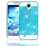 Samsung Galaxy S4 I9500 Case,Vandot Accessory Set Exclusive Luxury Bling Sparkling Crystal Unique Design PC Hard Back Cover Ultra Slim Thin Perfect Fit Anti-Scratch Protective Pattern-Blue