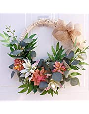 Nuxn 16inch Outdoor Summer Succulent Wreaths for Front Door with Knotted Bow Artificial Greenery Wreath Spring Farmhouse Garland Handmade Green Leaves Wreath for Party Home Decor