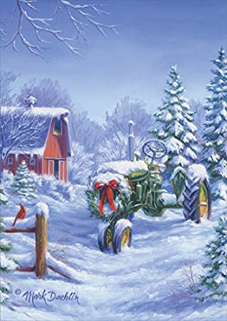 Barn With Tractor Christmas Cards