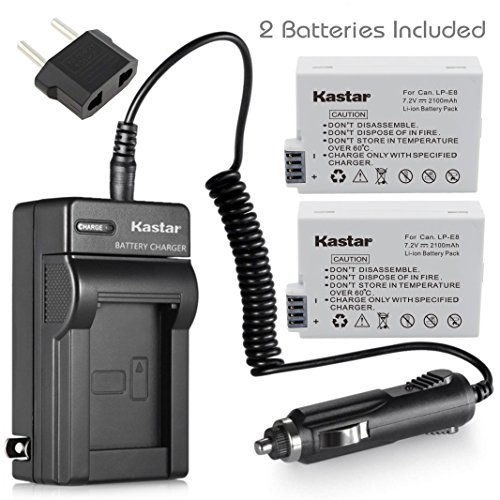 Kastar Battery (2-Pack) and Charger Kit for Canon LP-E8, LC-E8E work with Canon EOS 550D, EOS 600D, EOS 650D, EOS 700D, EOS Rebel T2i, EOS Rebel T3i, EOS Rebel T4i, EOS Rebel T5i Camera and BG-E8 Grip