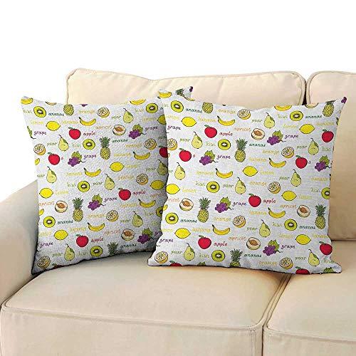 RenteriaDecor Fruits,2pc Set of Pillow Cases Kiwi Banana Plums Lemon Orange Pear Grape Apricot Kitchen Food Print 24