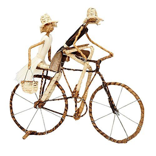 s Wire and Banana Fiber Figures on Bicycle 'Ride to Market Sculpture' ()