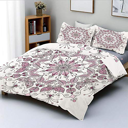 Duplex Print Duvet Cover Set Full Size,Lacy Pastel Floral with Butterfly and Lotus Figures Meditation Design DecorativeDecorative 3 Piece Bedding Set with 2 Pillow Sham,White Light Pink,Best Gift for