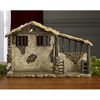 Fontanini Wooden Stable Nativity Village Collectible 50556 Home Kitchen