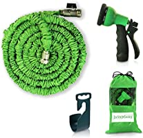 Expendable Garden Hose - 50 Ft Retractable, Lightweight & Flexible - 8 Pattern Function Gardening Spray Nozzle Watering Included - Enhanced Brass Fitting Connectors - Free Hanger & Storage Bag Holder