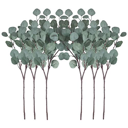 ZHIIHA Pack of 6 Artificial Silver Dollar Eucalyptus Leaves Artificial Greenery Faux Holiday Christmas Greens Flower Leaf Arrangement for Home Decor