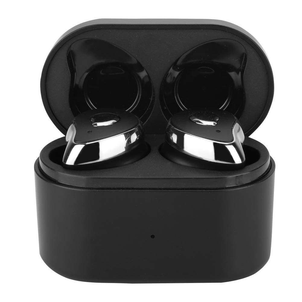 ASHATA Wireless Bluetooth Stereo Earbuds Mini Portable Sports Headset with Charging Box HD Noise Reduction Sound Half-Ear Design for PC Smartphone