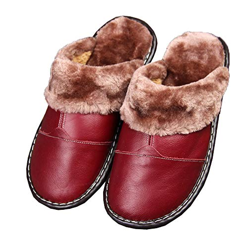 Genuine Warm Slipper Faux Leather Lining Fur Slippers for Burgundy Winter Women Mules 7dqRgx17w