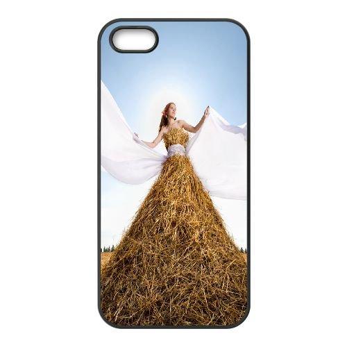 Girl Dress Wind Mountain Hay Field 76419 coque iPhone 5 5S cellulaire cas coque de téléphone cas téléphone cellulaire noir couvercle EOKXLLNCD23954
