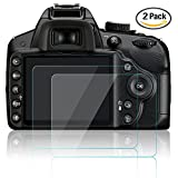 AFUNTA Camera Screen Protector for Nikon D3100 D3200 D3300 D3400, 2 Pack Anti-scratch Anti-glare Tempered Glass for DSLR Camera