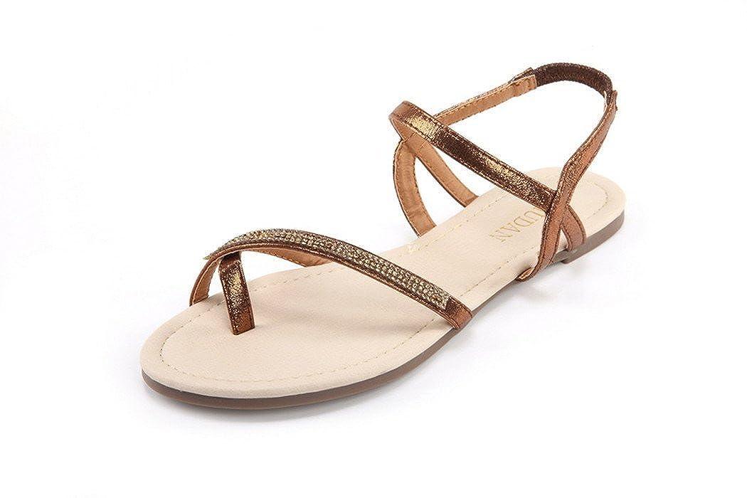 MuDan Mu Dan Womens Shoe Flat Braided & Rhinestone Comfortable Slingback Sandal… 151111-A