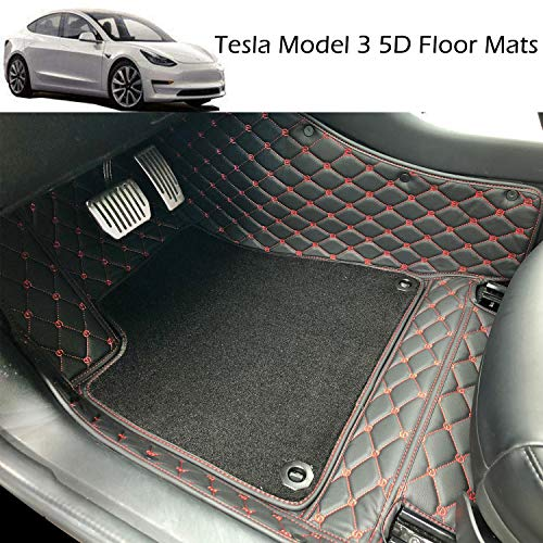 BMZX Car Floor Mats Custom All Weather 5D for Tesla Model 3 (Red) Anti-Slip Auto Flooring Waterproof & Dirt Proof Heavy Duty Easy to Clean (Red, PU Leather Material)