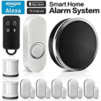 Forrinx Wireless Home Security Alarm System DIY Kit with 1 Smart WiFi Hub, 5 Contact Sensors, 2 Motion Sensors, 1 Doorbell Button, App Control by Smartphone, Works with Alexa