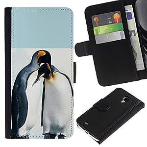Samsung Galaxy S4 Mini i9190 (NOT S4) - Dibujo PU billetera de cuero Funda Case Caso de la piel de la bolsa protectora Para (Cute Penguin Friends)
