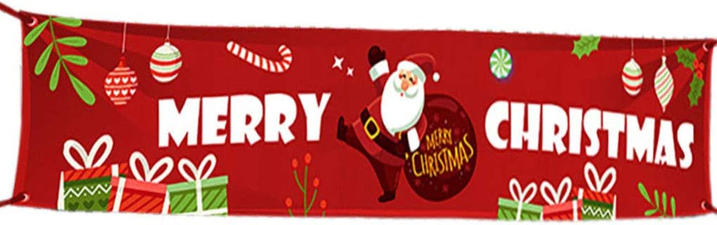 Large Merry Christmas Banner | 9.8 feet Outdoor Red Christmas Banner Decorations Red Backdrop Large Photo Prop Backdrop Outside Xmas Home Party Holiday Bunting Banner (Red Santa-Merry Christmas)